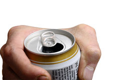 Man's hand holding a opened beer can isolated Royalty Free Stock Images