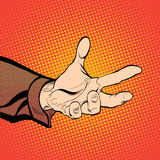 Man`s hand holding out for something. Man demanding something. Man inquiring for something. Man`s hand. Reaching out. Requiring something. Concept idea of royalty free illustration