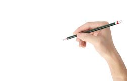 Man's hand holding  pencil isolated Stock Images