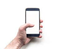 Man's Hand holding and using mobile smart phone mockup Stock Image