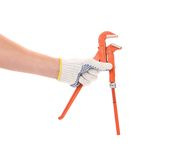 Man's  hand holding a water pump pliers Stock Photos