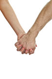 Man's hand holding woman's hand. Stock Photos
