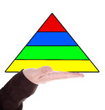 Man's hand holdinh a pyramid Stock Photo
