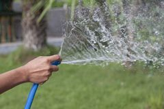 The man`s hand holds the blue rubber tube to inject water to Watering the tree. The man`s hand holds the blue rubber tube to inject water to Watering the tree stock photography