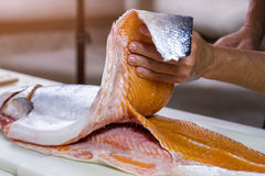 Man's hand holds fish meat. Stock Images