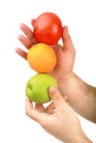 The man's hand holds fruit Royalty Free Stock Photography
