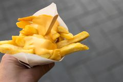 Man`s hand holds a paper cone with french fries and cheese sauce. Man`s hand holds a paper cone with french fries and creamy cheese as topping royalty free stock photo