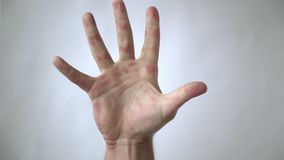 The man`s hand holds, and then throws out the syringe. Victory over a disease or drug addiction stock video