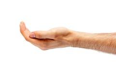 Man's hand hollow. Stock Photos