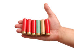 Man`s hand with the hunting cartridges Stock Image