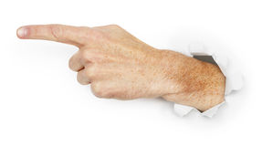 Man's hand indicates direction Stock Photography