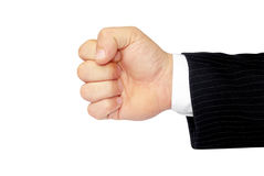 Man's hand isolated on a white background, clenched fist Royalty Free Stock Photography
