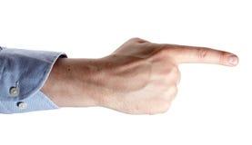 Man`s hand isolated on white. Index finger forward. 5 Stock Image