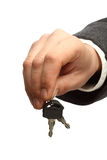 Man's hand with keys Royalty Free Stock Photo