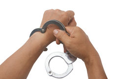 Man's hand lock hand Stock Photos