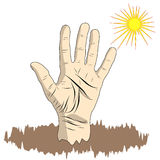 A man`s hand is an open palm in a cartoon style, a hand sign for Royalty Free Stock Image