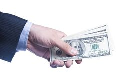 Man`s Hand With a Pack Of Dollars Royalty Free Stock Photo
