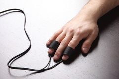 Man's Hand with Polygraph Electrodes. On the Table Desk royalty free stock photos