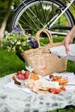 Man`s Hand Pouring Rose Wine Into Glasses, Summer Picnic Stock Images