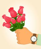 Man's hand present of roses Royalty Free Stock Photos