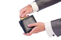 Man's hand with a purse and credit card Royalty Free Stock Photography
