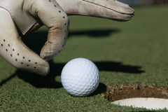 Man`s hand putting golf ball in hole Royalty Free Stock Image