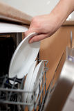 Man`s hand putting a plate in the dishwasher. Housework Stock Images