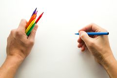 The man's hand, ready to draw a picture Stock Photo