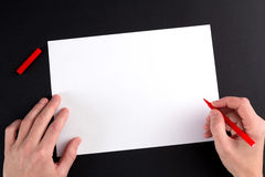The man's hand, ready to draw a picture Stock Photos
