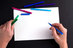 The man's hand, ready to draw a picture Stock Images