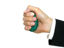 Man's hand with rubber ring Stock Image