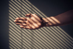 Man's hand with shadows from blinds Royalty Free Stock Photography