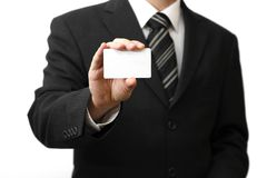 Man's hand showing business card Royalty Free Stock Photos