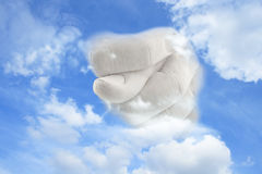 Man's hand showing fig from heaven Royalty Free Stock Images