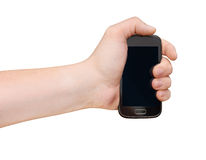 Man's Hand with smartphone isolated on white Stock Photos