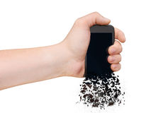 Man's Hand with smartphone  on white Stock Photography