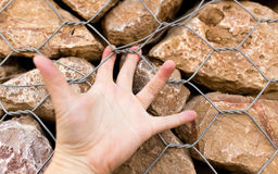Man`s hand on a stone wall Royalty Free Stock Photo