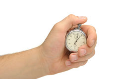 Man's hand with a stopwatch Stock Photos