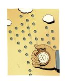 Man`s hand with a stopwatch against the background of coins falling from the clouds with a dollar sign. Investment weather.  stock illustration