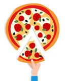 Man`s Hand Taking a Slice of Pizza Stock Photography