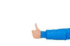 Man`s hand with thumb up isolated on white background, close up. High resolution product. Like. Royalty Free Stock Images