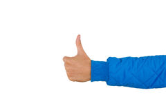 Man`s hand with thumb up isolated on white background, close up. High resolution product. Like. Stock Photos