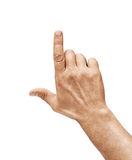 Man`s hand touching or pointing to something isolated on white background. Royalty Free Stock Images