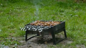 Man`s hand turn over shashlik or barbecue on a grill.  stock video