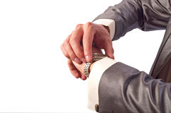 Man's hand with watch Stock Photo