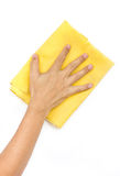 Man's Hand Wiping Surface. Royalty Free Stock Photos