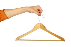 Man S Hand With Hanger Royalty Free Stock Photos