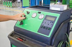 Man's Hand Working With Nitrogen Tire Filling System Machine. Stock Image