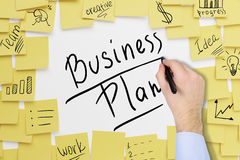 Man`s hand writing business plan Stock Images