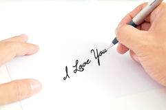 Man's hand writing Royalty Free Stock Photos